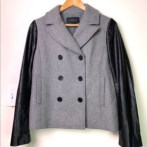 ANN Taylor Wool and Leather Sz S Gray Jacket
